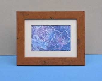 Leaf Monoprint: 'Lilac and Mauve garden leaves'  original small, natural subtle botanical print, light purple nature printmaking, UK art