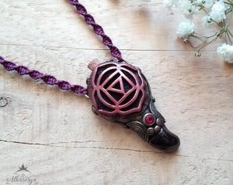 Muladhara Chakra Aromatherapy Macrame Vial Necklace Garnet