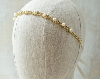 Pearl Headpiece Gold Bridal Headpieces Bridal Headbands Wedding Hair Accessories Gold Bridal Hair Accessories Wedding Headpieces  H025