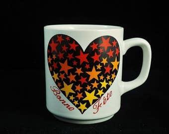 """Vintage """"Bonne Fête"""" Ceramic Mug Made in Korea"""