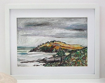 Original Australian Landscape Art Storm Clouds over Headland Modern Oil Pastel Drawing Australian Beach Wall Art Modern  A4 Unframed