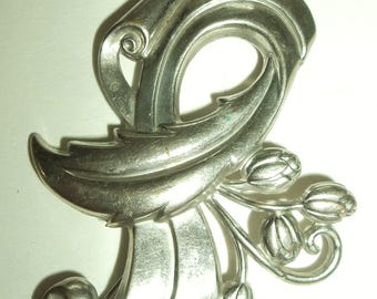 40's Retro huge Silver tone leaf scroll floral Pin