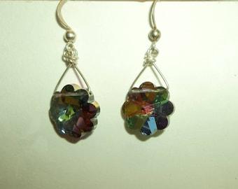 925 Sterling Silver  AB Crystal Floral drop earrings