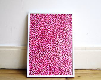 Polka dots painting, dots in neon pink and brown on 90r paper, original unique painting A4 size