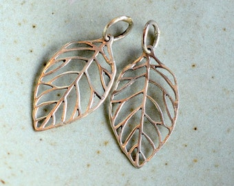 Silver leaf pendant etsy two sterling silver leaf charms open leaf pendant silver leaf pendant leaf earrings mozeypictures Images