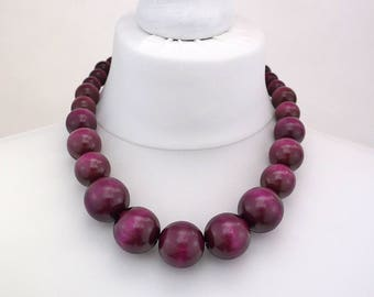Purple Wooden Bead Necklace | Chunky Purple Necklace | Purple Beaded Necklace