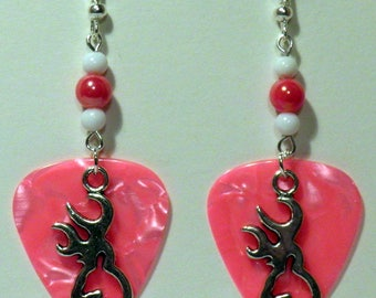 Silver BROWNING BUCK Deer Charm on Guitar Pick Beaded Earrings - Handmade in USA