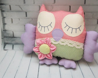 Made to order. Cotton small owl polka dot, small soft owl, owl toy, owl decor