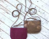 LUNA CROSSBODY Fuchsia & Copper • Small Zippered Leather Bag