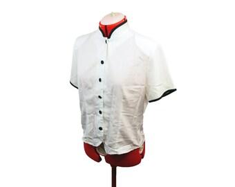 Outline Black and White Blouse / White Button Up, Womens Clothing, 90s Vintage Clothing, White Blouse, White Shirt, Size 8 Medium