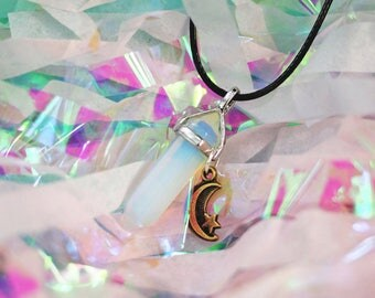 Opal Crystal Necklace Opal Choker / Opalite Crystal Point Gem Necklace Crystal Choker Pastel Goth Clothing Grunge Choker Vintage Loser