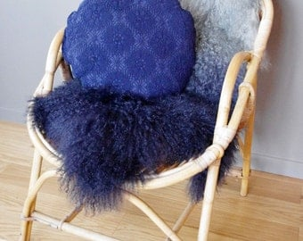 Indigo blue boho round cushion with old lace