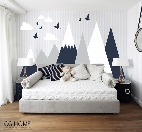 mountains wall decal entire wall protection mountain wall. Black Bedroom Furniture Sets. Home Design Ideas