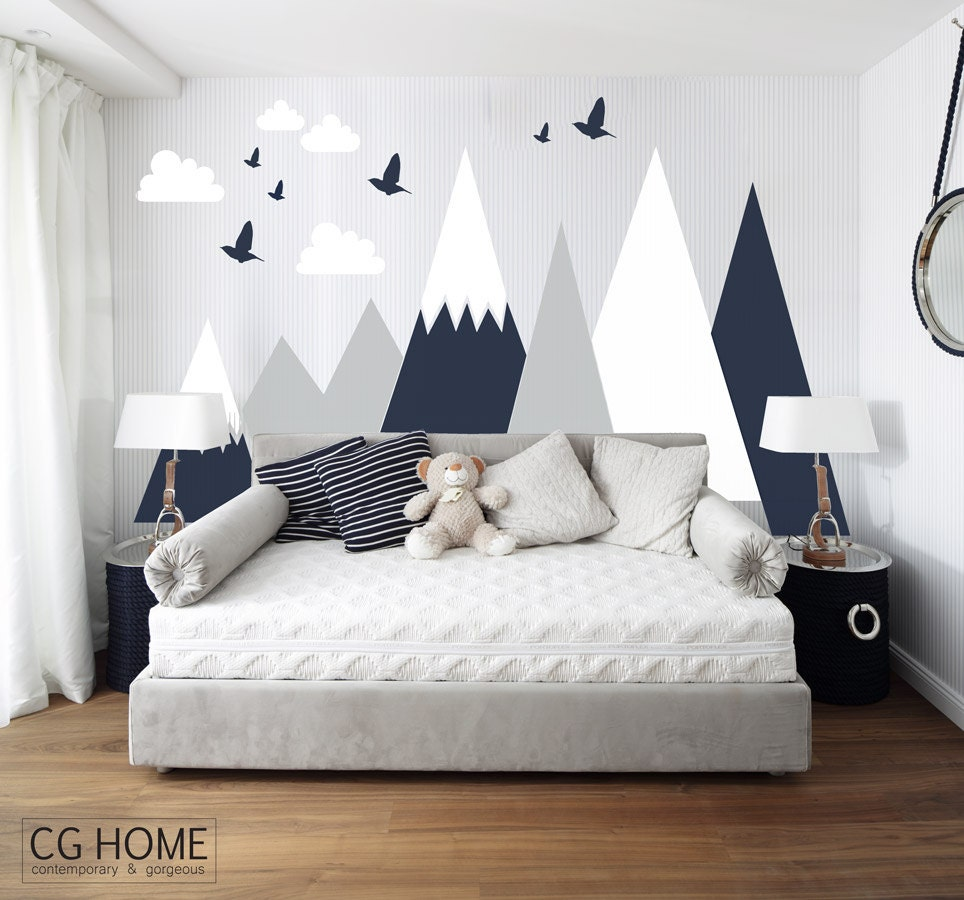Entire wall protection mountain covering wall decal clouds birds entire wall protection mountain covering wall decal clouds birds mountains customized personalized washable headboard sticker nursery decor amipublicfo Choice Image