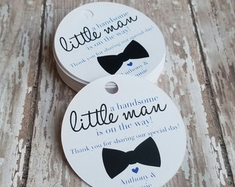 A handsome little man is on the way baby shower tag, It's a boy, Pregnancy Announcement Tag, Bow Tie Baby Shower, Boy Shower (108)