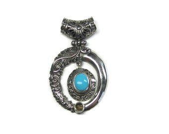 Vintage Balinese Sterling Turquoise Citrine Pendant