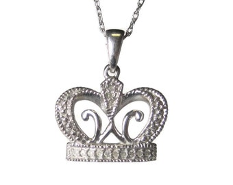 10K White Gold Diamond Crown Pendant Necklace