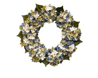 Blended Blue Hydrangea Wreath | Front Door Wreaths | Blue Cream and Green Hydrangeas | Summer Wreaths | Spring Wreaths | Outdoor Wreaths |