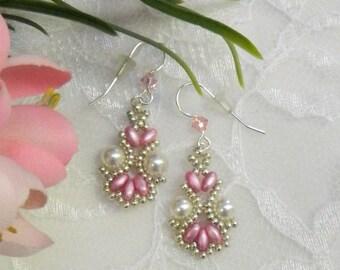 Swarovski Beaded SuperDuo earrings,Pearl earrings,Beaded earrings,SuperDuo jewelry,Beaded jewelry - Lacey Pearl earrings