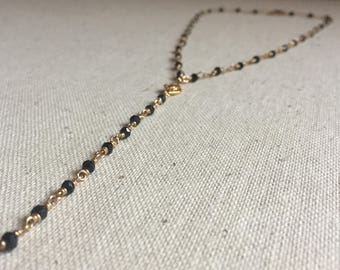 Black spinel gemstones wire wrapped lariat necklace