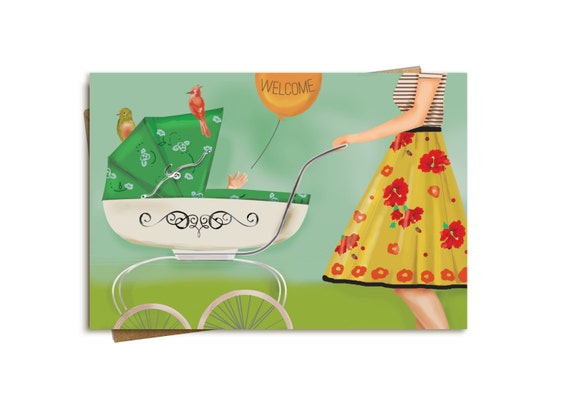 Welcome Baby Card. Whimsical Birds.