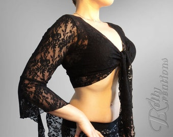 Romantic Belly Dance Choli Top made from Stretchy Lace (Alexandra Choli) CUSTOM MADE