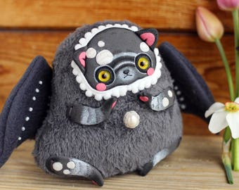 black cat art doll creepy toy Gothic Doll monster toy dark doll figurine black cat toy cat sculpture