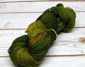 Spiced Avocado, Snuggly Super Sock, 85/15% Superwash Extrafine Merino Wool/Nylon, 4 Ply Fingering/Sock,  437 yards, Hand Dyed Yarn,