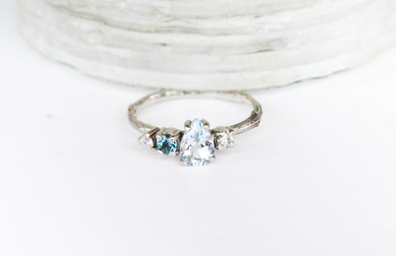 14k white gold blue cluster engagement ring, cluster aquamarine blue engagement ring, moissanite engagement