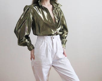 80s Liquid Gold Blouse Small Medium