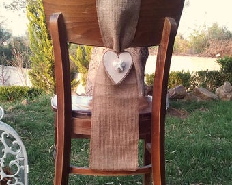 Chair Sash - Burlap Chair Swag - Burlap Chair Sash -  Burlap Chair Tie - Wedding Chair Sash - Rustic Wedding Chair Sash - Set of 10