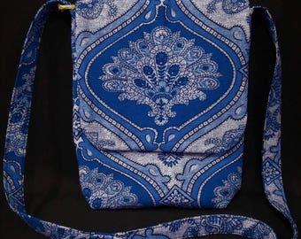 Blue Boho Messenger Bag, Cross Body Bag, Small Messenger Bag