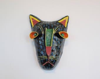 Gina Truex Feline Mask Paper Mache Wall Hanging, Vintage Hand Painted Artist Creation Colorful Cat Leopard Jaguar Paper Mache, Gina Turex