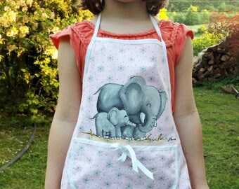 Girls apron, elephants apron, kids apron, toddlers girl apron, hand painted apron, pink girls apron, elephants hand painted, children apron