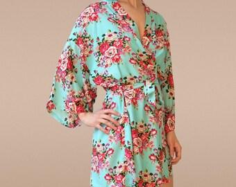 mint bridesmaid robe, mint wedding dress, mint robe, mint floral dress, mint bridesmaid dress, mint flower girl dress, mint green