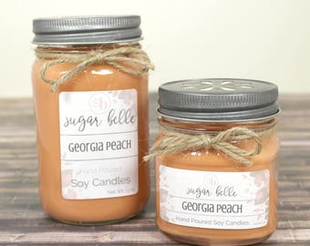 Peach Candle - Scented Soy Candles Handmade - Country Home Decor - Fruit Soy Candle - Housewarming Gifts Home Decor - Georgia Peach Candle