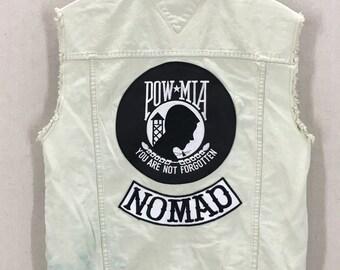 Vintage 90's Tommy Hilfiger Cut-Off Denim Vest W/ POW MIA Nomad Patches Sz M