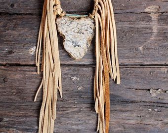 Jasper + Buckskin Fringe Necklace