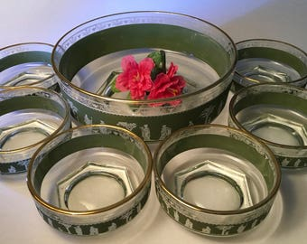 7-piece Jeannette Glass Grecian Hellenic large serving bowl with six individual bowls