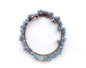 "The ""Althea"" flower crown with blue babys breath, natural look floral halo, floral wreath perfect for weddings, festivals, photo shoots"