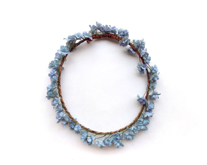 """The """"Althea"""" flower crown with blue babys breath, natural look floral halo, floral wreath perfect for weddings, festivals, photo shoots"""