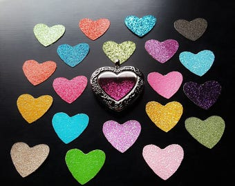 Window Insert for Heart Floating Lockets-Choose from 20 Colors-Gift Idea
