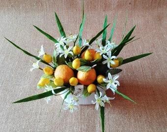 Lemon and orange blossom kitchen decor, Italian lemon arrangement, rustic lemon flower arrangement, decorative basket with lemon and blossom