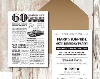 Personalized 60th Birthday Invitations, 1957 Events