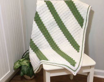 Crochet Lapghan or Lap Throw, Green and White Crochet Blanket, Square Crochet Blanket