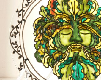 The Green Man - Large Suncatcher - Window Hanging - Window Mobile - Hand Painted - Made To Order - Neoclassical Style