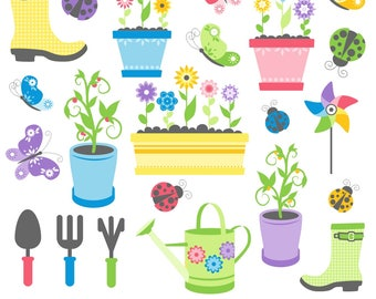 Garden Clipart, Spring Clipart, Garden Tools Clipart, Plant Clipart, Flower Clipart, Printable, Commercial Use