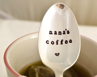 nana's coffee -silver plated, Mother's day gift, gift for nana, coffee spoon for nana.