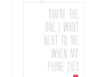 Funny Friend Card. Love Card. Funny Card. You're The One.