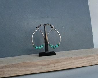 Green Turquosie Hoop Earrings,  Unique Green Gemstone Hoop Earrings, Dangle Hoops, Solid Sterling Silver Hoop earrings One of a kind Jewelry